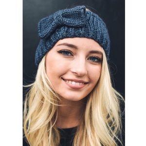Dark gray bow knit headband